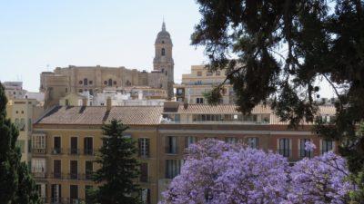 Vue sur la cathédrale depuis L'Alcazaba de Malaga